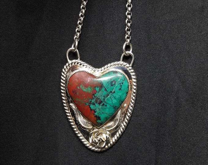 Featured listing image: Sonoran Sunset Necklace, Sterling Silver Heart Pendant, Red Cuprite Blue Chrysocolla Jewelry, Handcrafted