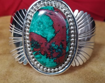 Chrysocolla Cuff, Sonora Sunrise Bracelet, Handcrafted Sterling Silver Jewelry, Native American Made.