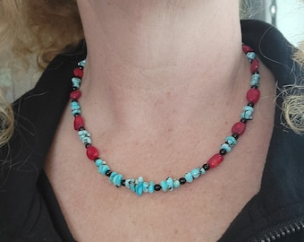 Lone Mountain Turquoise, Coral Beaded Necklace, Native American Made, Handcrafted Jewelry. Necklace, Jewelry for men.