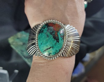 Sonora Sunrise Cuff Bracelet, Chrysocolla and Cuprite Jewelry, Handcrafted Sterling Jewelry.