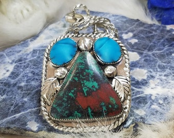 Sonora Sunrise, Bisbee Turquoise Pendant, Handcrafted Sterling Silver Jewelry