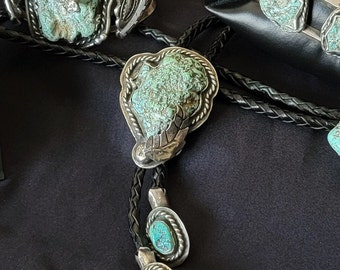 Old Pawn Bolo Tie, Vintage Navajo Jewelry, Turquoise Jewelry for men,  Southwest Wedding Formal wear.