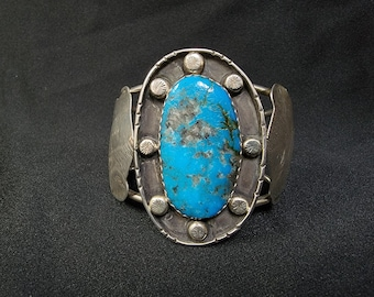 Turquoise Sterling Bracelet, Vintage Navajo Cuff, 1960's Native American Made Jewelry.