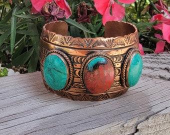 Sonora Sunrise Cuff, Southwest Copper Bracelet, Chrysocolla Cuprite Jewelry