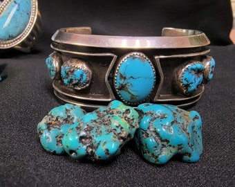 Navajo Cuff Bracelet, Morenci Blue Turquoise, Vintage Native American Jewelry, Heavy Sterling  Cuff.
