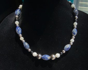 Sodalite beaded Necklace, Onyx and White Quartz and Sterling bead stacker necklace