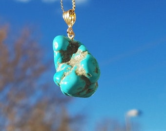 Morenci Turquoise Nugget 14K Pendant, 14k chain available