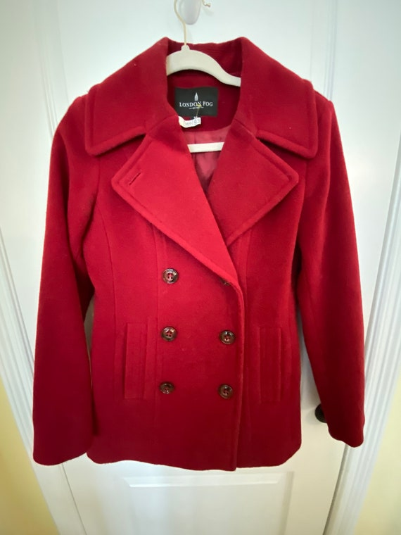 London Fog XS Red Overcoat Double Buttons