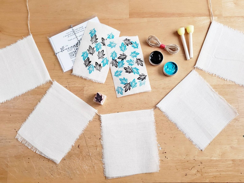 Block Print Bunting Kit Canvas Banner DIY Printmaking w Original Hand Cut Leaf Stamp Stamping /& Painting Activity for Kids and Adults