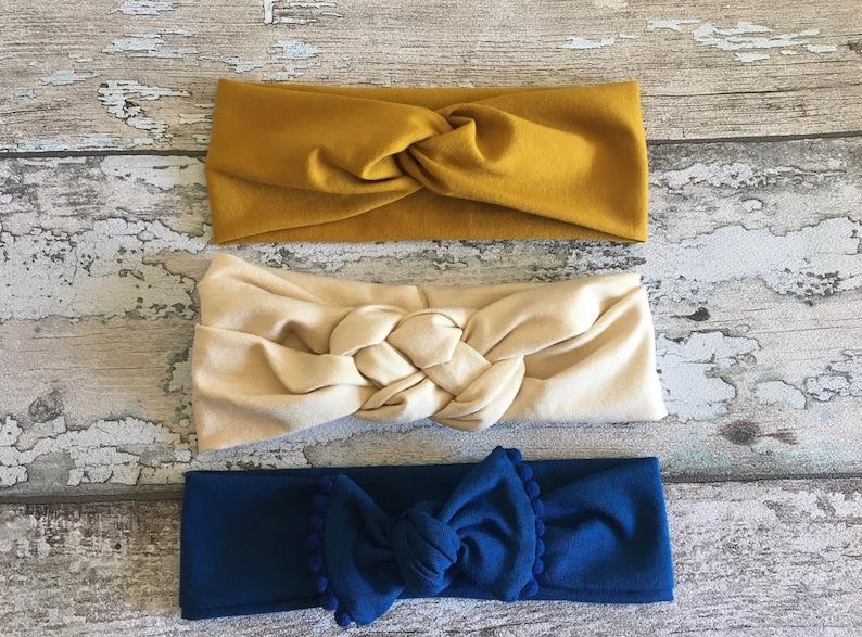 Celtic knot headband,baby headband with bow twisted turban headband Sailors knot headband Baby headband set set of 3