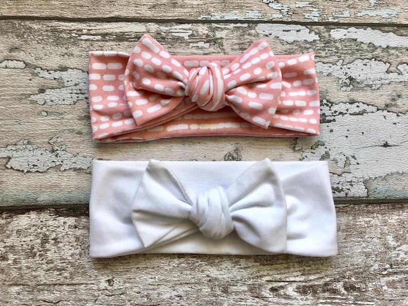 newborn headband,Baby turban headband,Pink and Pastel Colors Bow knot headband Set,Baby Bow knot headband,Green striped headband for girls