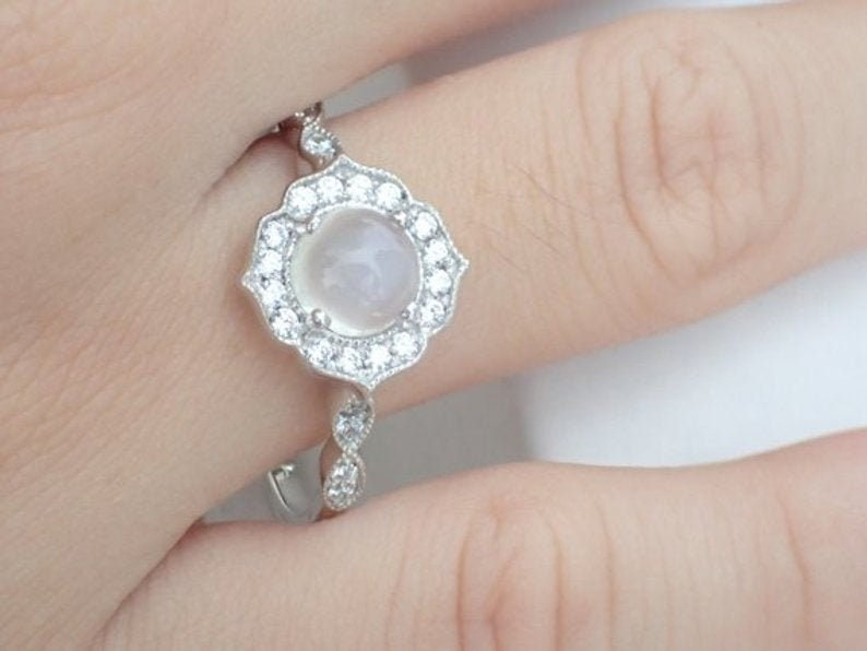 7mm Moonstone Engagement Ring Diamond Cluster Wedding Ring in 14k Solid Gold Art Deco Vintage Inspired Anniversary Ring