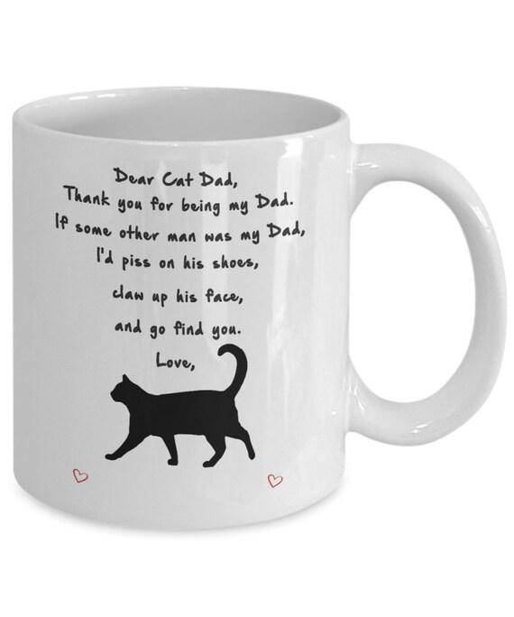 Custom Name Personalized Mug Dear Cat Dad Mug - Coffee Mug Tea Cup 11oz Gift