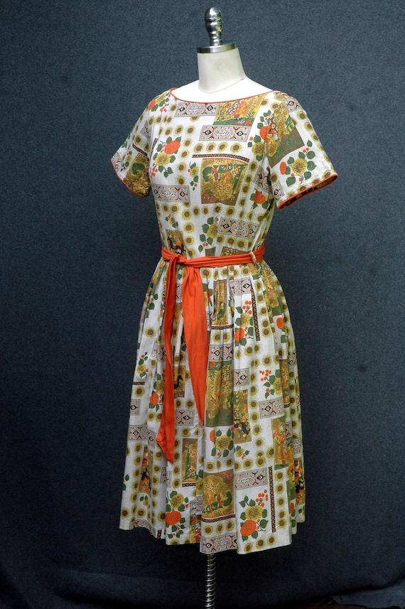 Vintage 1950s Novelty Print Dress - image 2