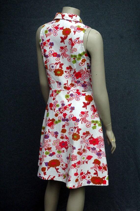 Vintage 1970s Pink Floral Cotton Dress - image 4