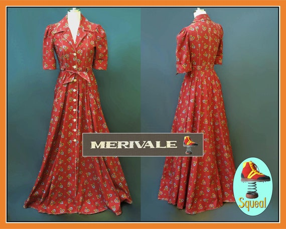 Vintage Merivale 1970s does 1940s Red Button Front