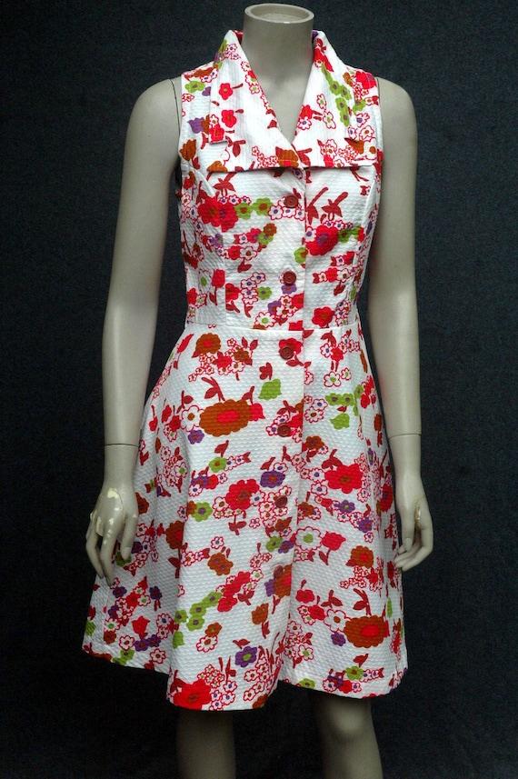 Vintage 1970s Pink Floral Cotton Dress - image 5