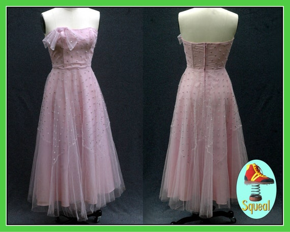 Vintage 1950s Pink Tulle Party Dress