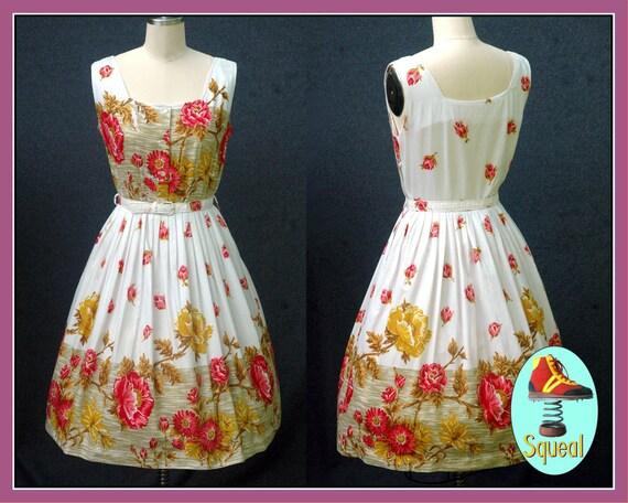 Vintage 1950s Floral Border Print Dress