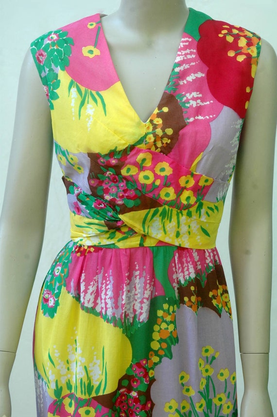 Vintage 1960s Psychadelic Floral Cotton Maxi Dress - image 6