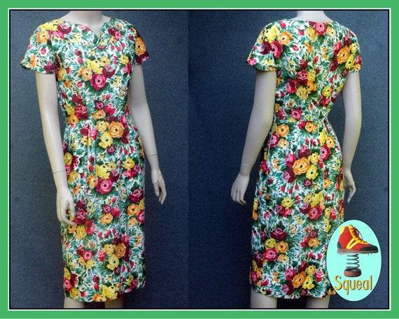 Vintage 1950s Rose Print Wiggle Dress