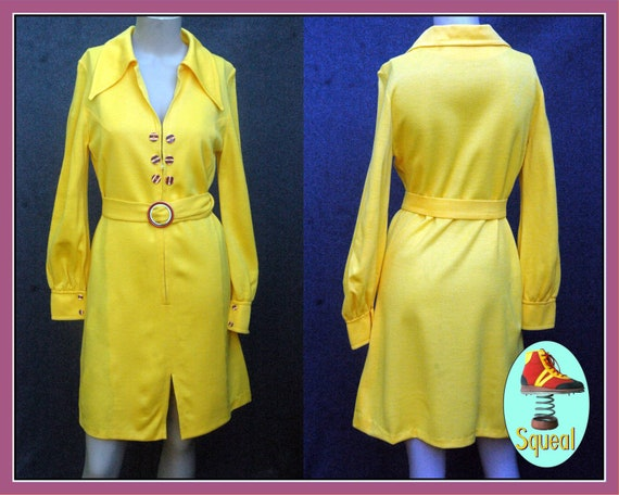 Vintage 1960s Yellow Mod Dress with Belt