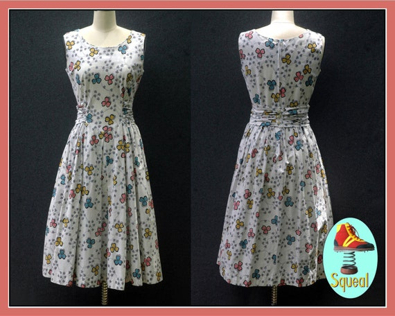 Vintage 1950s Floral Fit and Flare Dress