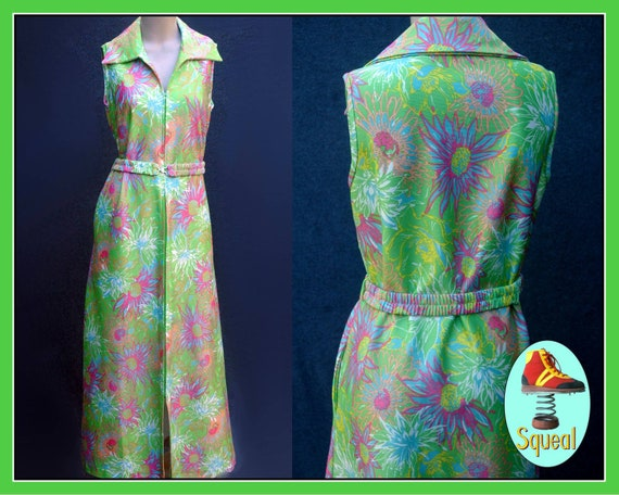 Vintage 1960s Psychadelic Floral Zip Front Maxi Dr