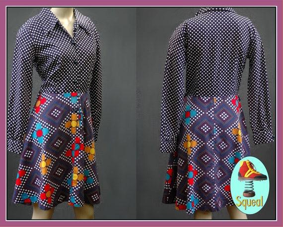 Vintage 1960s Shirt Waist Flower Power Dress