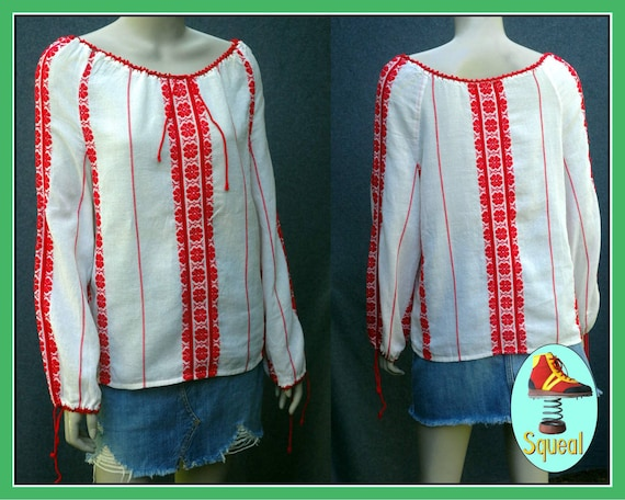 Vintage 1970s Hungarian red embroidered long sleev