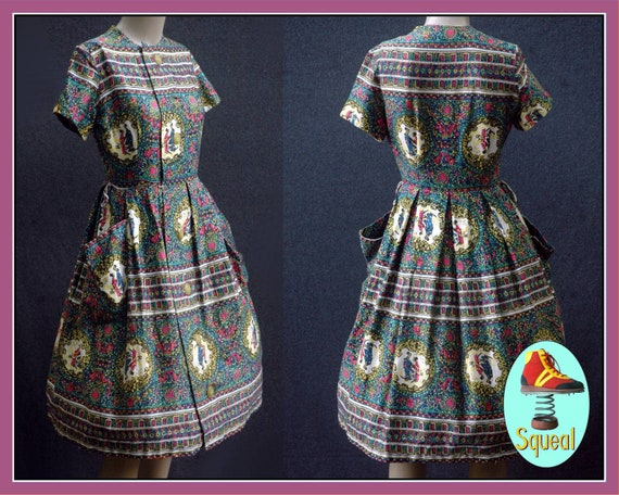 1950s Novelty Print Button Front Dress (small)