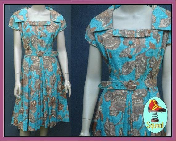 Vintage 1950s Blue Floral Pleated Dress