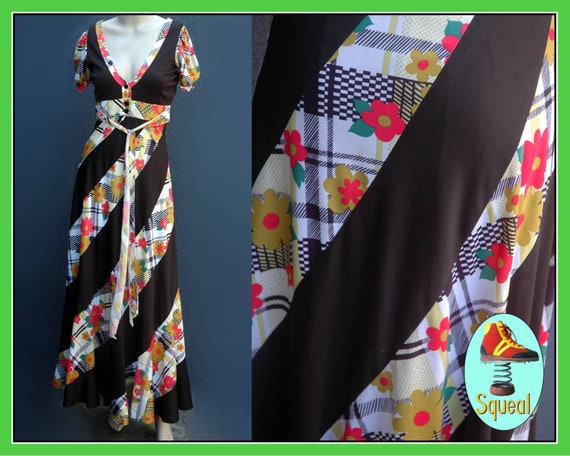 Vintage 1970s does 1930s Panelled Floral Maxi Dres