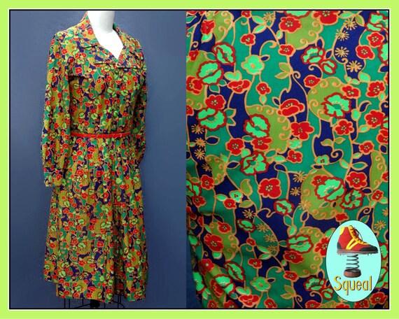 Vintage 1960s Psychadelic  Neon Floral Shirtwaist