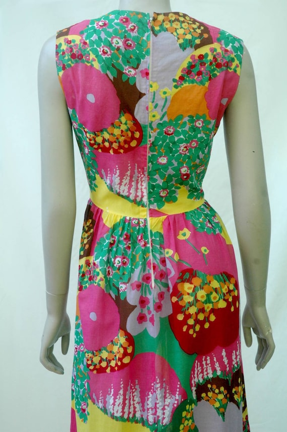 Vintage 1960s Psychadelic Floral Cotton Maxi Dress - image 5