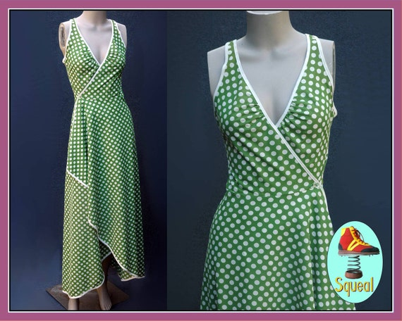 Vintage 1970s Green Spot Wrap Dress