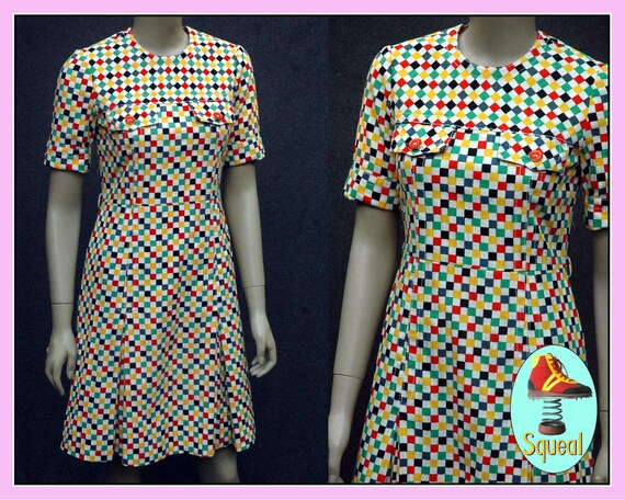 Vintage 1960s Multicoloured Checkered Scooter Dres