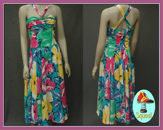 Vintage 1980s Tropical Floral Sundress