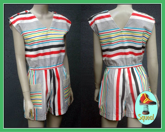 Vintage 1980s Striped Playsuit Romper