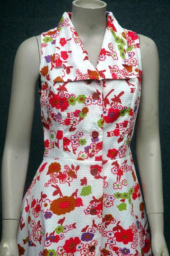 Vintage 1970s Pink Floral Cotton Dress - image 6