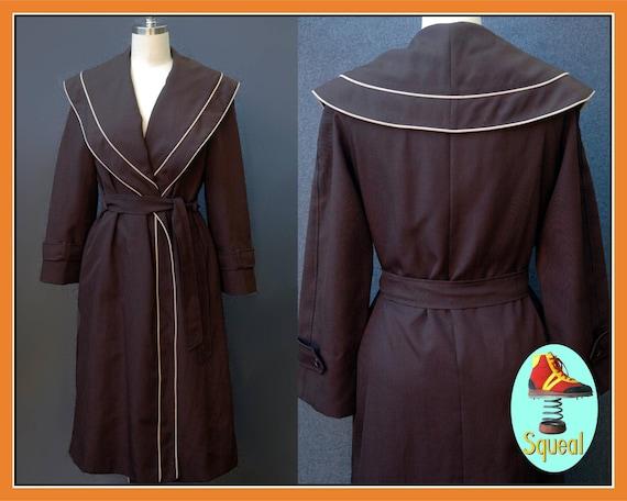 Vintage 1950s Black Wrap Coat