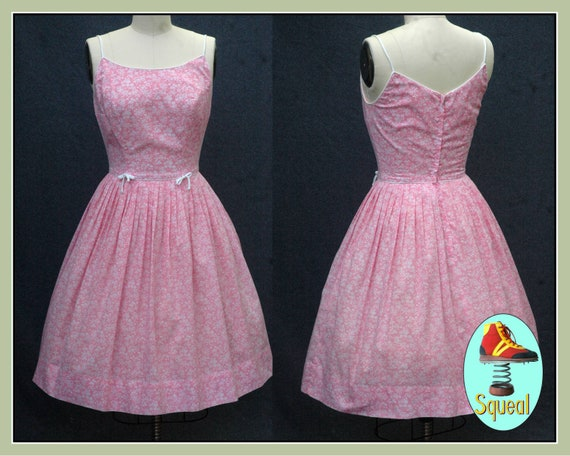 Vintage 1950s Pink Floral Cotton Sundress (Small)