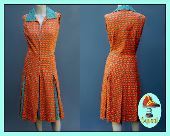 Vintage 1970s Batik Cotton Pleated Dress