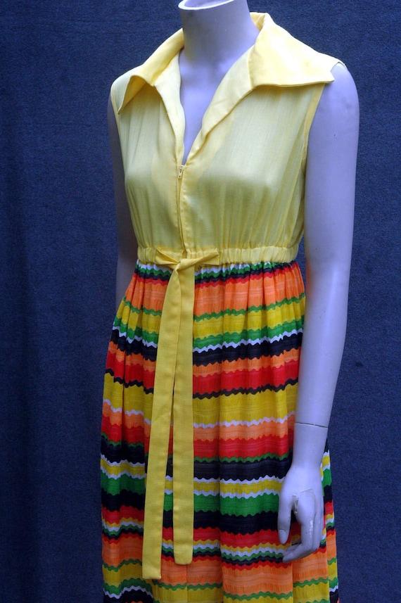 Vintage 1960s Yellow Psychadelic Maxi Dress - image 6