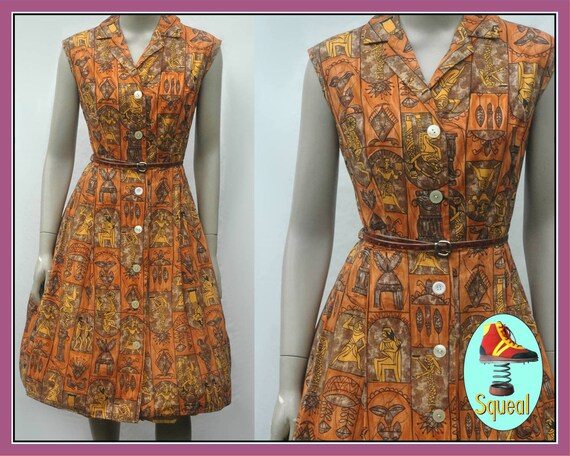 1950s Novelty Egyptian Print Dress