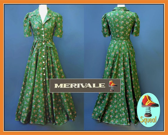 Vintage Merivale 1970s does 1940s Green Button Fro