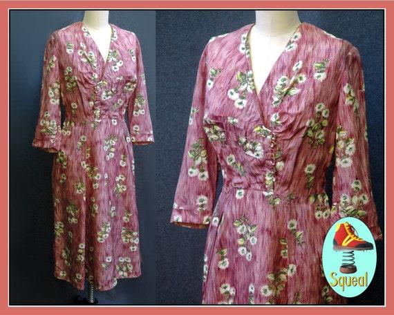 Vintage 1950s Rose Pink Floral Rayon Dress  (Large