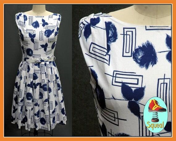 Vintage 1950s Blue Rose Print Dress