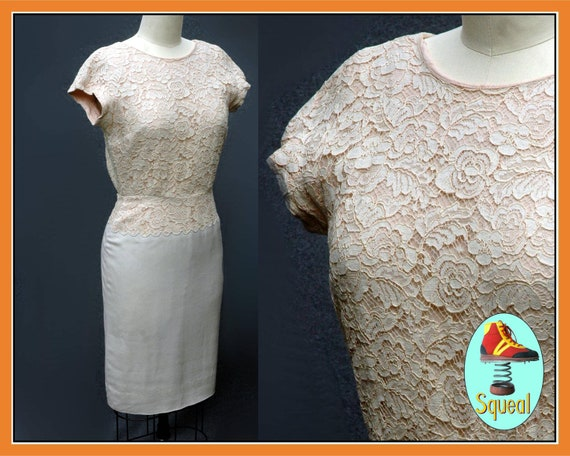 Vintage 50s Linen and Lace Wiggle Dress