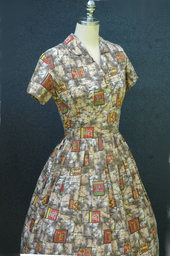 Vintage 1950s Novelty Print Dress - image 6